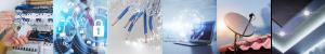 Bildkollage zu Elektrotechnik, Smart Home, Glasfaser, Netzwerktechnik und Beleuchtung